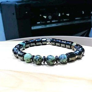 African Turquoise and Magnetic Hematite Bracelet